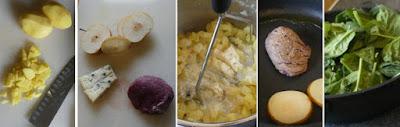 Zubereitung Rinderfiletsteak auf Kartoffel-Gorgonzola-Stampf mit karamellisierten Birnen und Spinat