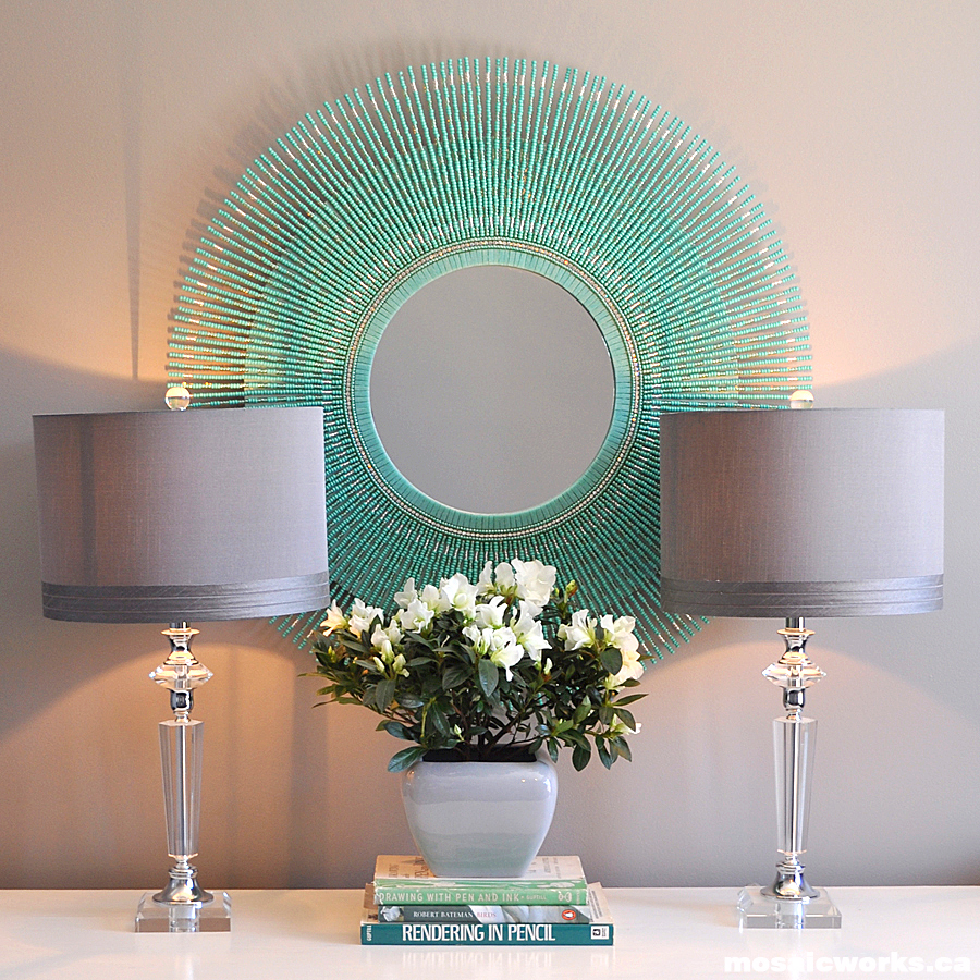 mosaicworks.ca: The Turquoise Bead Mirror