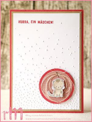 Stampin' Up! rosa Mädchen Kulmbach: Babykarten mit geprägtem Hintergrund und Zum Nachwuchs