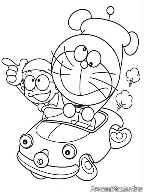 Gambar Nobita Dan Doraemon Naik Mobil Untuk Diwarnai