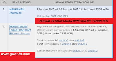 gambar Jadwal Pendaftaran Online CPNS Kemenkumham 2017 di sscn bkn go id