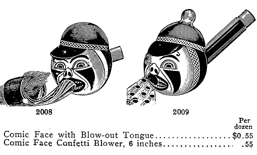 1907 novelties, Comic face with blow-out tongue, Comic face with confetti blower