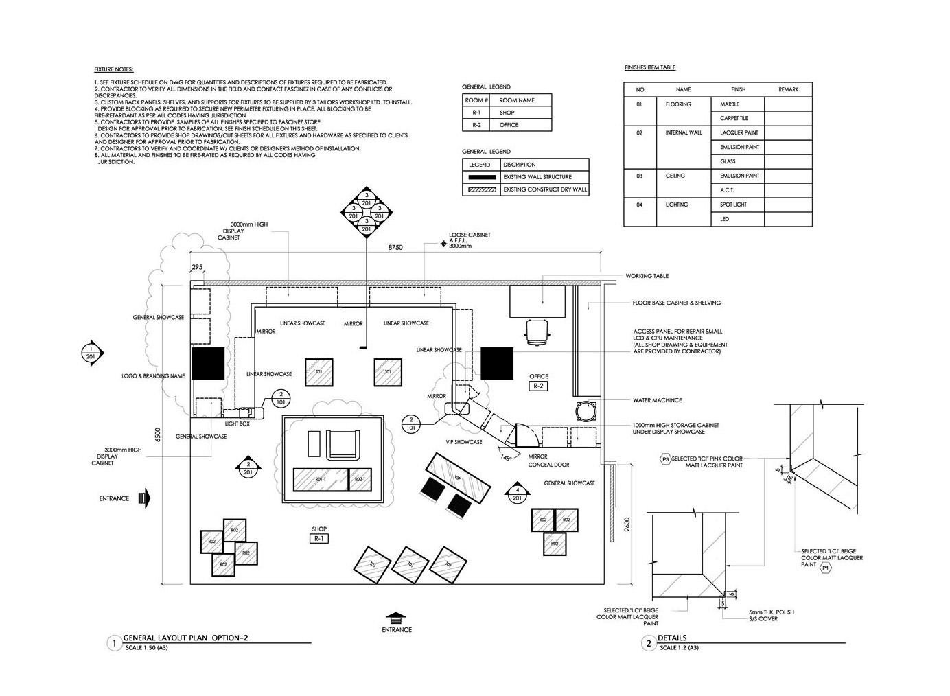 Yrenec interior design construction drawings and millwork - General notes for interior design drawings ...