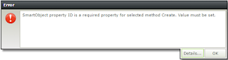 SmartObject property ID is a required property for selected method Create. Value must be set.