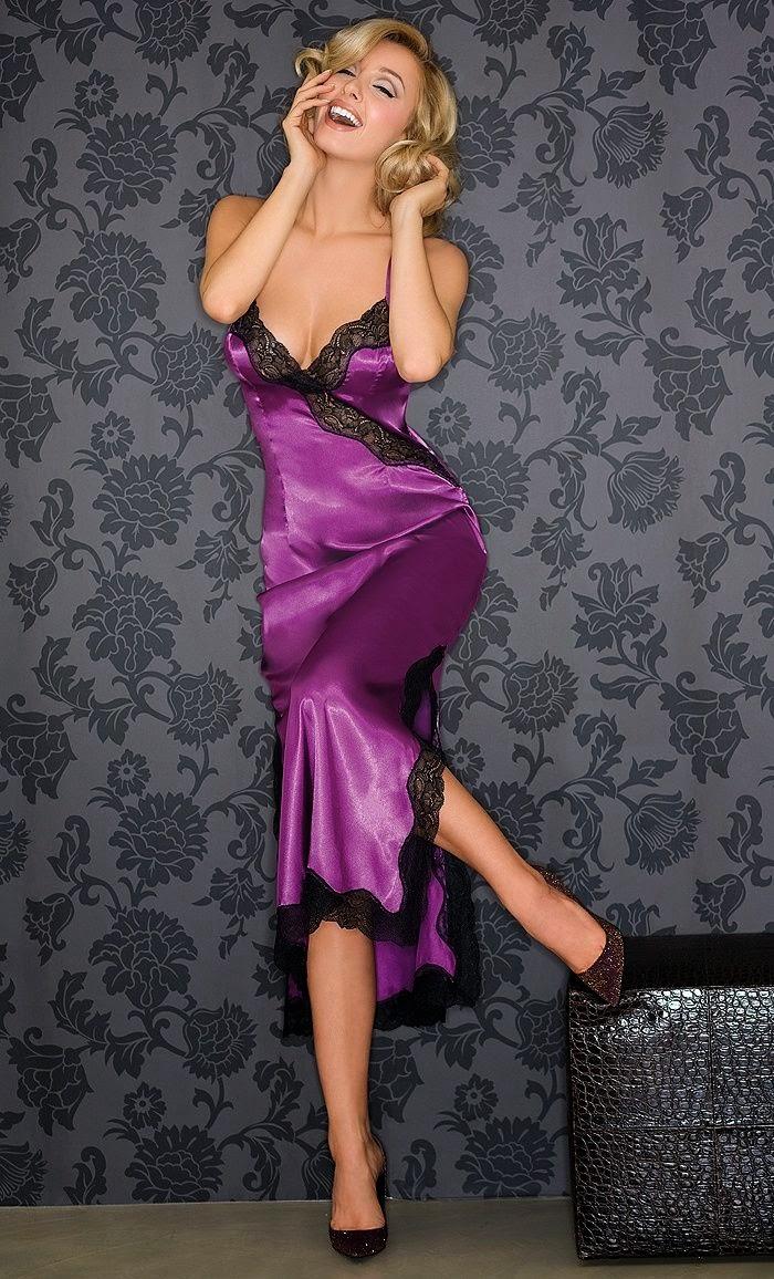aa2053224c3a Purple satin nightgown