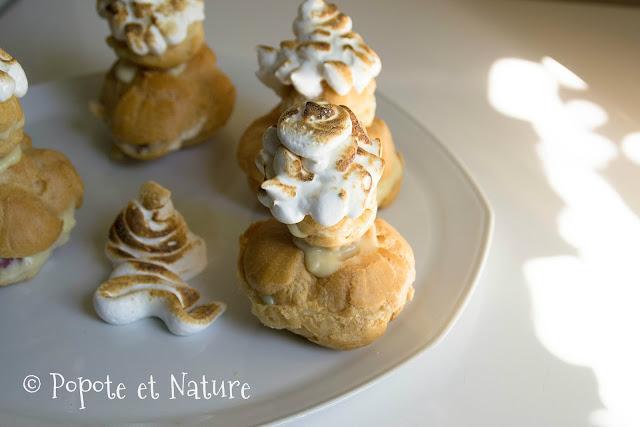 religieuses meringuées à la crème pâtissière aux fruits confits et à la banane © Popote et Nature