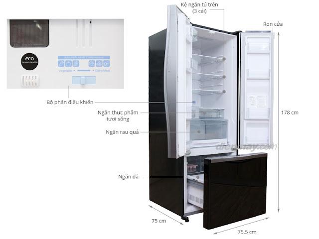 [HD] Sử dụng tủ lạnh Hitachi R-WB475PGV2 405 lít Full