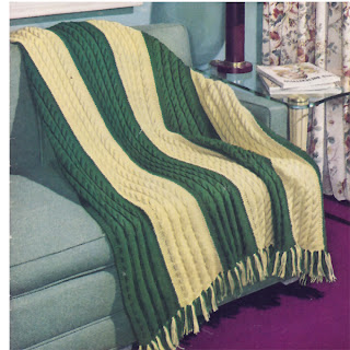 Two Tone Cable Crochet Afghan pattern