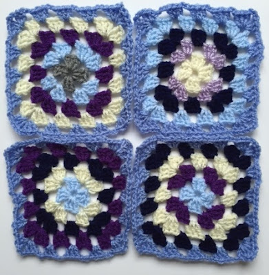Crochet granny squares for blanket