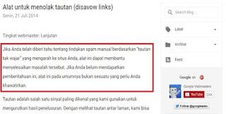 Informasi Dari Blog Resmi Webmaster Google Tentang Disavow