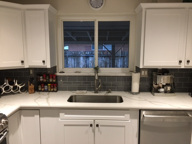 renovated kitchen, gray and white