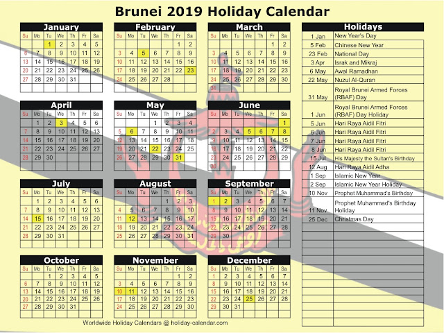 Kalendar Cuti Umum Brunei 2019 (Public Holidays)