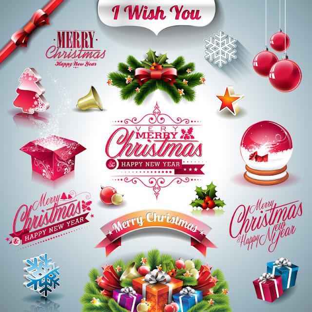 Vector bộ sưu tập kỳ nghỉ Giáng sinh thiết kế free