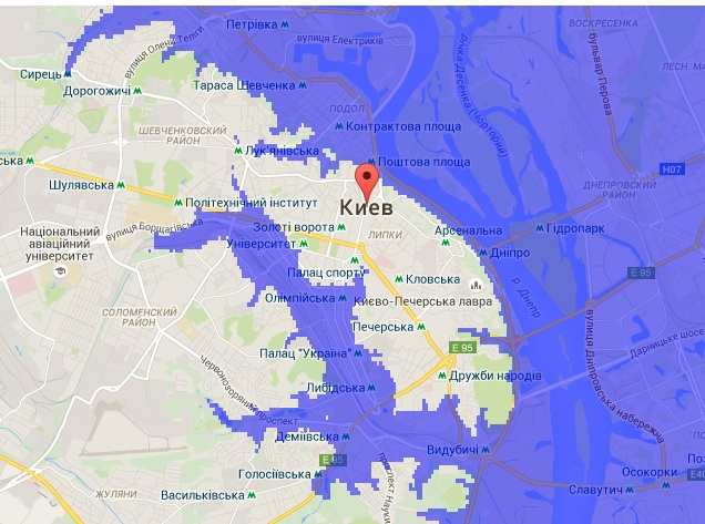 Карта затопления территории Киева