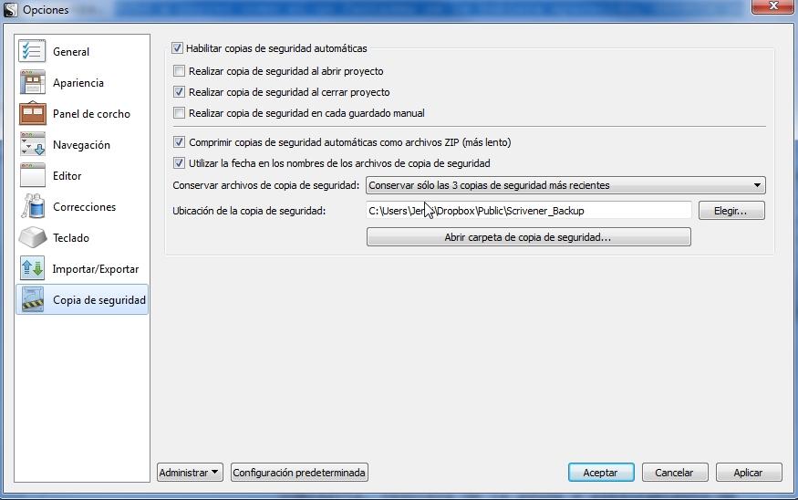 Respaldo en dropbox para Scrivener