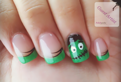 Uñas decoradas con color verde