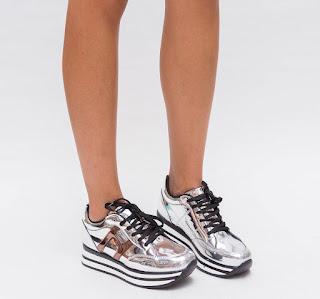 Pantofi Sport Hobit Argintii 2 cu tapa groasa moderni ieftini