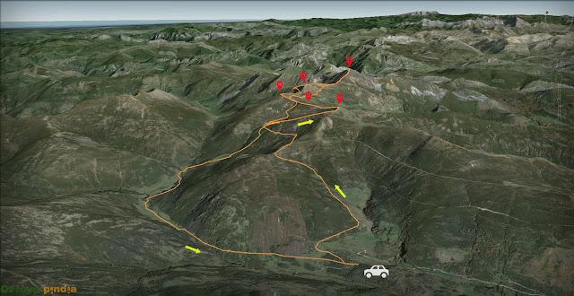 Mapa señalizado de la ruta al Cornón, Cornín, Sierra Pelada, Pico Elena y Río San Miguel