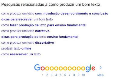 Exemplo de termos relacionados que podem ser usados para fazer um bom texto ao Google