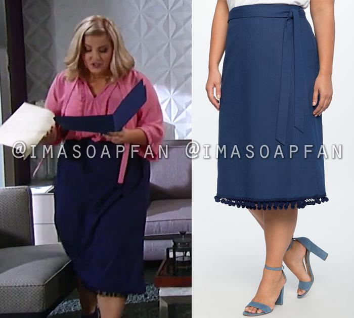 Amy Driscoll, Risa Dorken, Blue Pom Pom Trimmed Skirt, General Hospital, GH