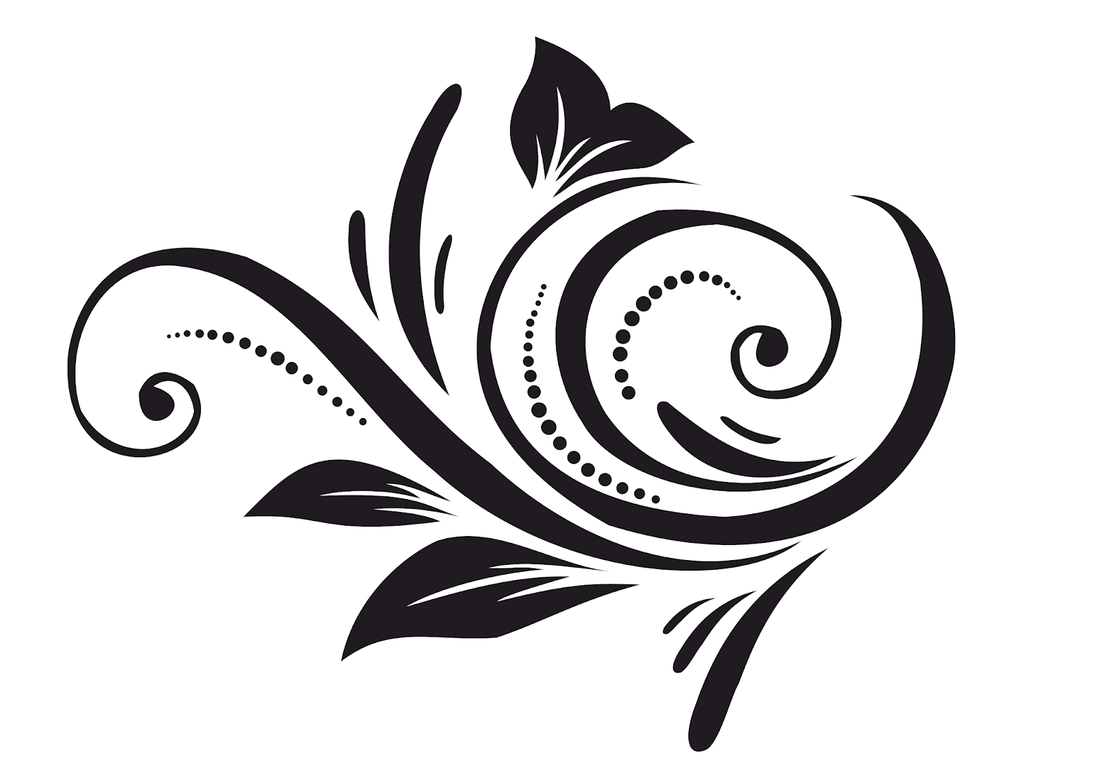 Simple Black And White Swirling Floral Element With A Repeat Vector