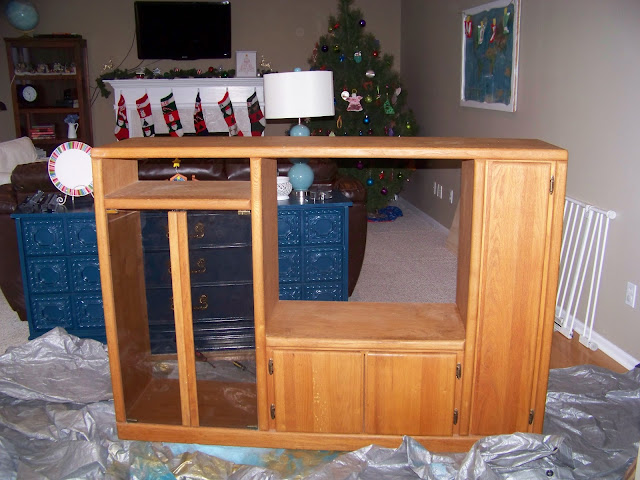 DIY Entertainment Center Into a Play Kitchen