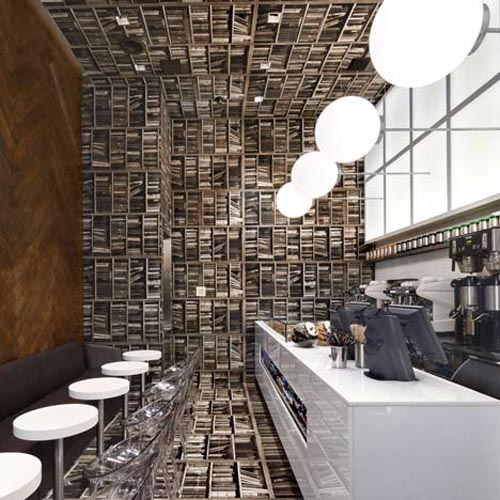 In Design Magz: 'LIBRARY' WALLPAPER INTERIOR COFFEE SHOP ...