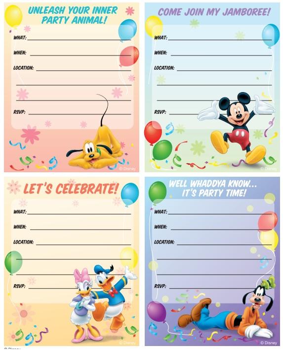 żółty Balonik Myszka Miki Mickey Mouse Zaproszenia