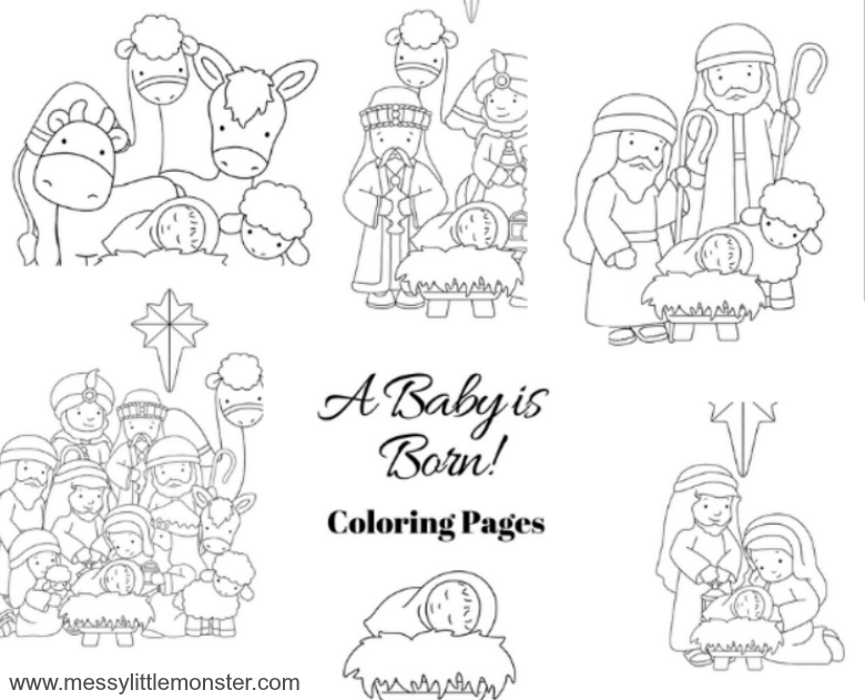 Free printable nativity christmas coloring pages.