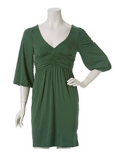 green dress, v neck, front dress