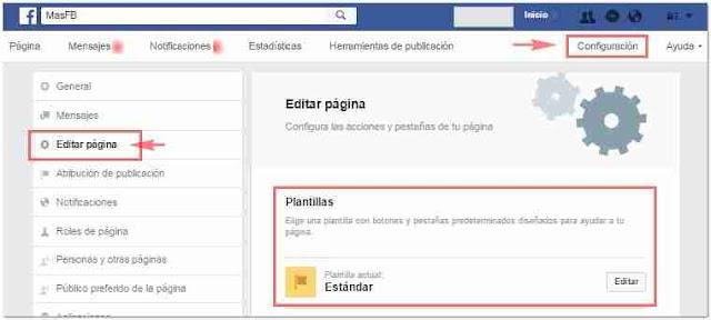Plantillas en Facebook Fanpage - MasFB