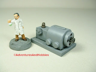 Small scale power generator designed for 25-28mm war games and role-playing games - type 2 - rear view.