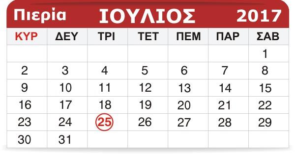 Γιορτάζουν σήμερα 25 Ιουλίου