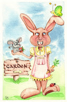 Bunny Whimsical Mouse Butterfly Ladybug in Garden Watercolor Illustration