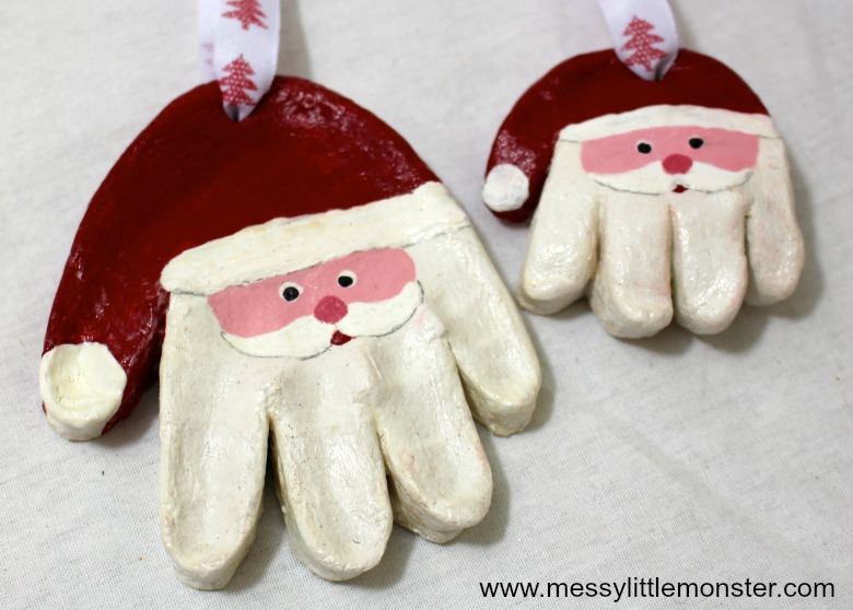 easy salt dough recipe and santa salt dough handprint ornaments for kids