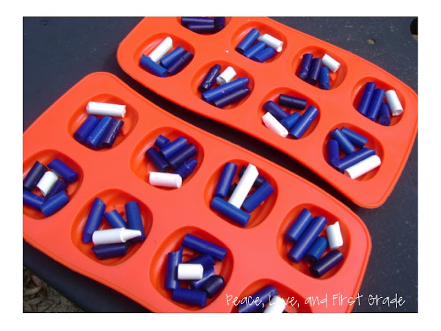 Melting crayons in ice trays