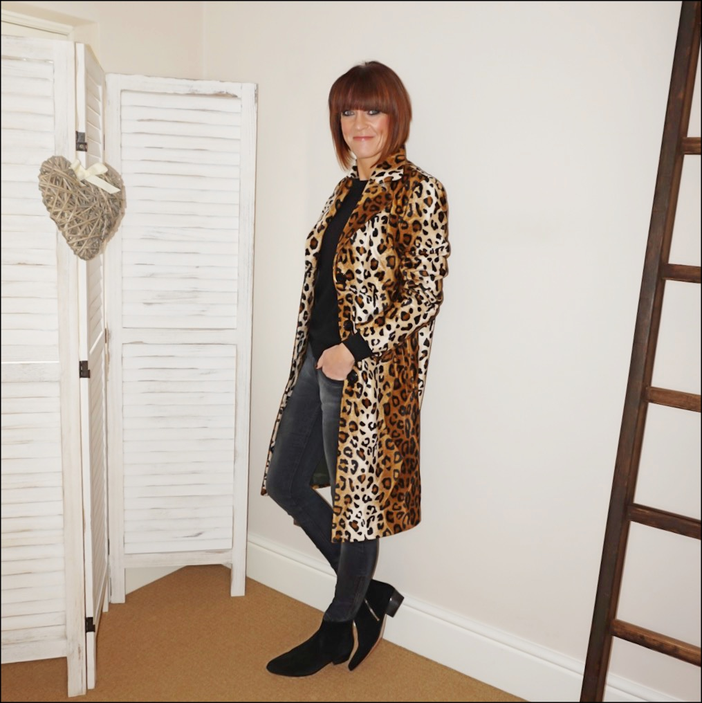 my midlife fashion, helene berman lila skinny leopard coat, boden cashmere crew neck jumper, zara skinny jeans, iro suede ankle boots