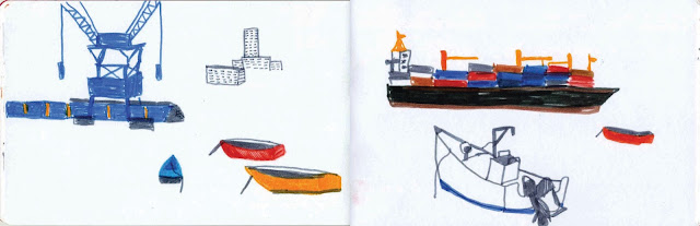 illustration au feutre bateaux