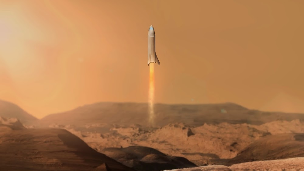 SpaceX Big Falcon Ship landing on Mars by HazeGrayArt
