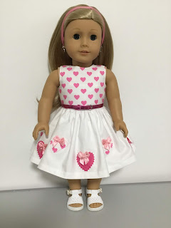 Hearts for a doll clothes dress for valentines Day