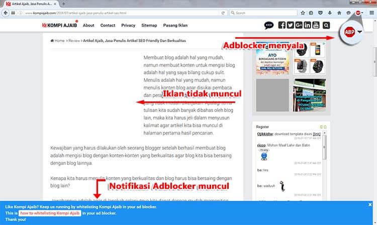 Notifikasi Untuk Pengguna Adblocker Adsense