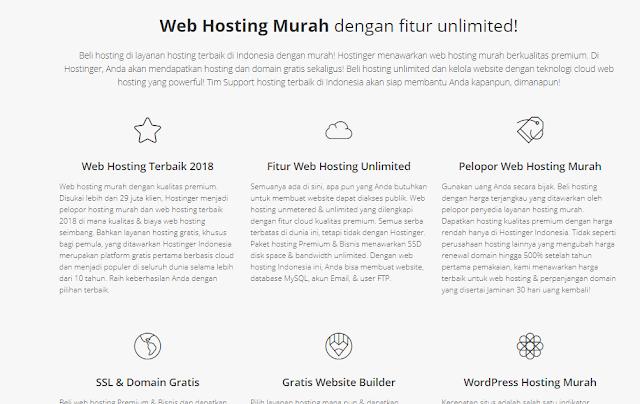 fitur web hosting Hostinger