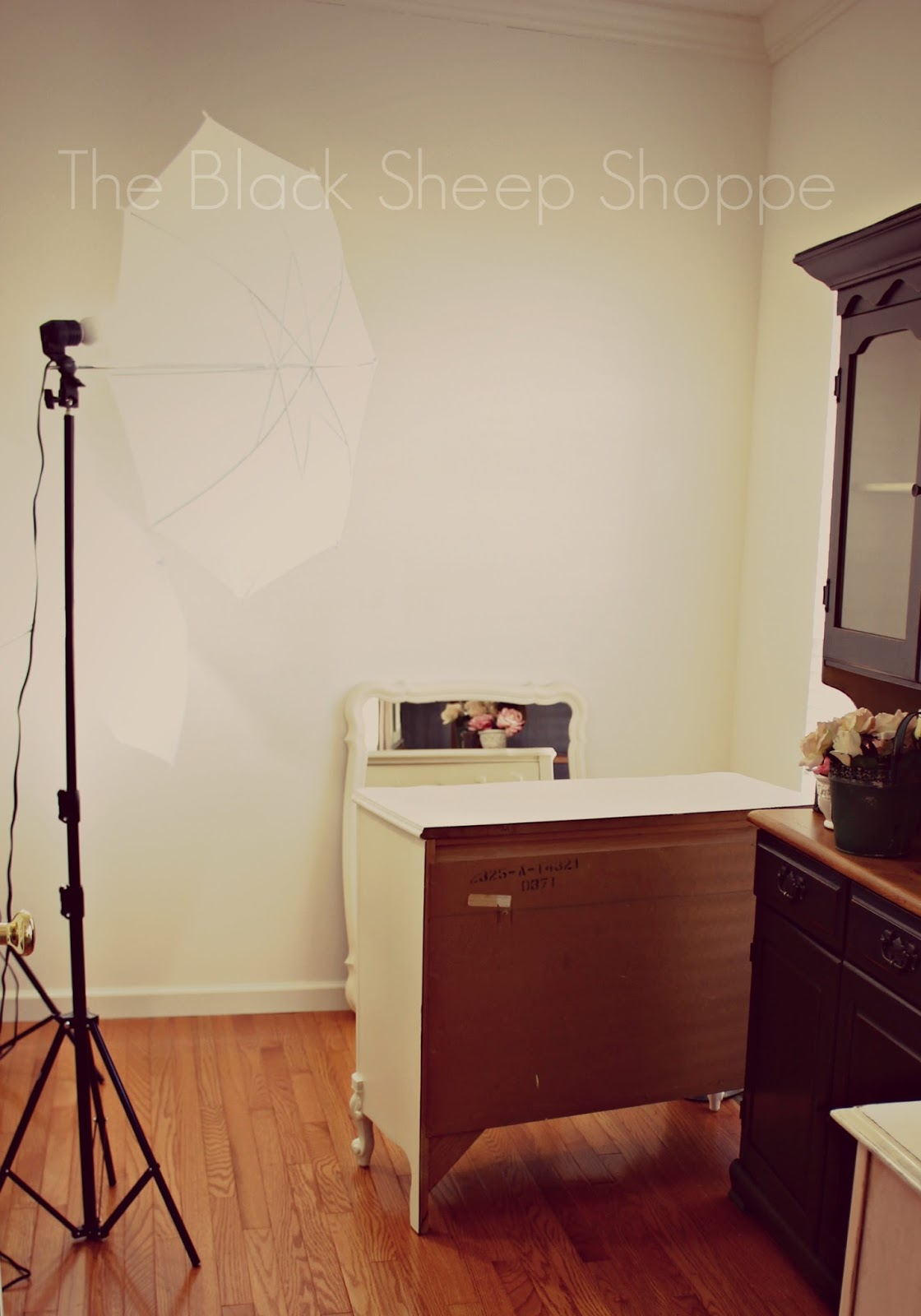 Setting up staging and lights for furniture photography