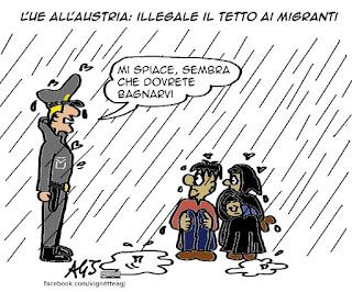 migranti, unione europea, austria, vignetta satira