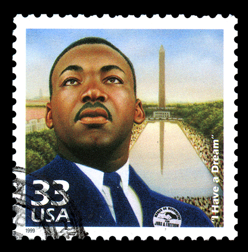 Commemorative USA Stamp 1999 featuring Martin Luther King Jr. in front of Washington Monument.  Text: I Have a Dream