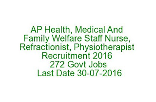 Nellore AP Health, Medical And Family Welfare Staff Nurse, Refractionist, Physiotherapist Recruitment 2016 272 Govt Jobs Last Date 30-07-2016
