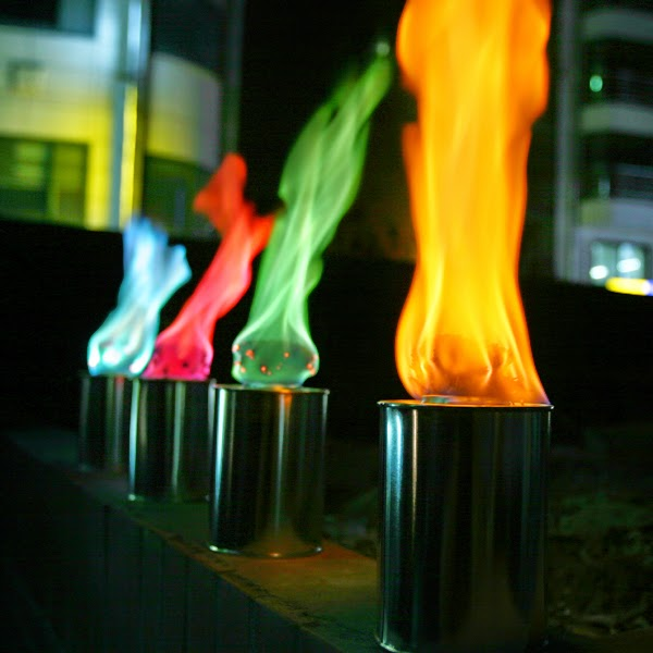 Gekleurde vlam tuinfakkels