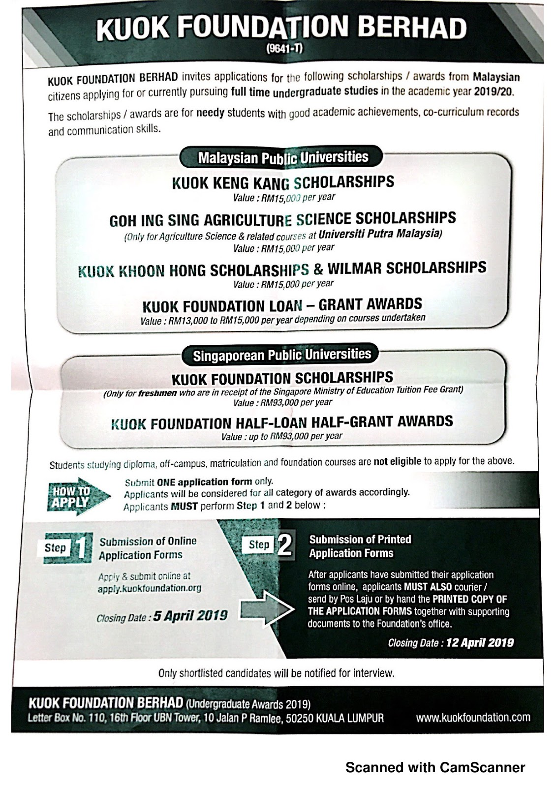 Official Career Job Info And Opportunity Mechanical Eng Usm Kuok Foundation Undergraduate Awards 2019
