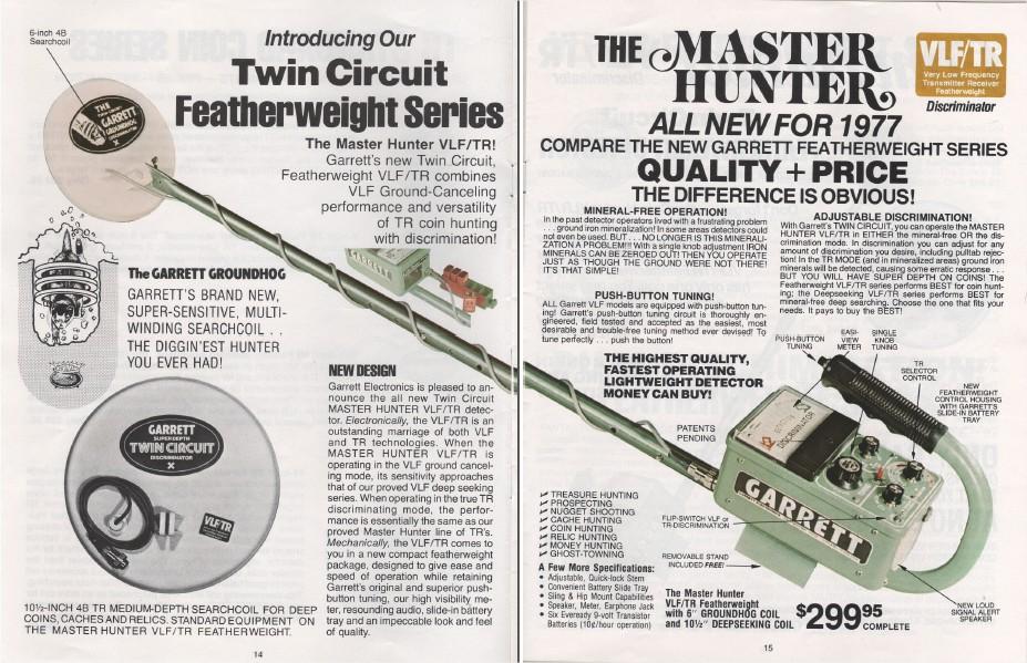 Tr Vlf Metal Detector Hunter Master Vintage Garrett