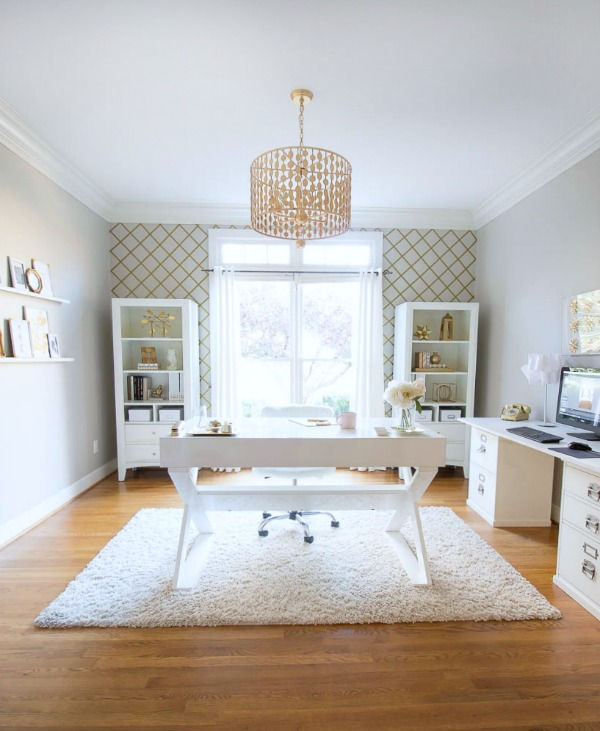 white and gold home office